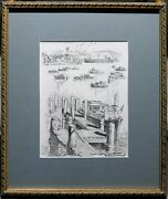 Cedric Emanuel 1906-95 Original Drawing Sydney Habour From Rose Bay Boats Ship
