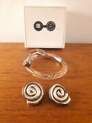 Marlene Mckibbon Chunky Bangle And Clip On Earrins Acrylic And Sterling Silver