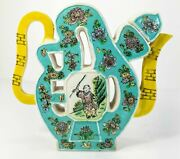 Antique Chinese Biscuit Ware Famille Verte Kangxi Style Puzzle Jug Wine Pot Tea