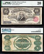 Awesome Rare Bold Vf 1891 10 Tombstone Silver Certificate Pmg 20 Free Ship