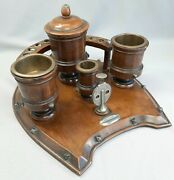 Antique Tobacciana Wooden Smoker's Stand Pipe Cigar Ashtray Match Striker Cutter