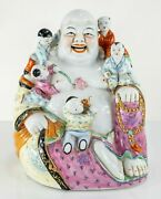 Antique Vintage Chinese Porcelain Figure Of Laughing Buddha Hotei With Kids