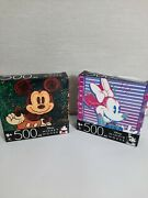 Disney Mickey Mouse And Minnie Mouse 500 Piece Jigsaw Puzzles Lot Of 2 By Cardinal