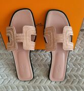 Hermes Oran Sandal With Nude Peach Crystals And Goat Skin Suede 40eu=10us Limited
