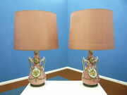 Italian Ceramic And Brass Table Lamps 1950s Set Of 2