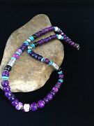 Navajo Indian Purple Sugilite Turquoise Bead Sterling Silver Necklace 22andrdquo 1731