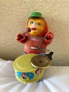 Vintage Antique Wind Up Drum Cymbal Playing Monkey Toy