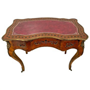 Antique French Writing Desk Three Drawers Inlay Embossed Pink Leather Top Ormolu