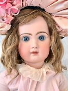 Antique French Emile Jumeau Tete Doll Closed Mouth Depose Bebe Mohair Wig Marked