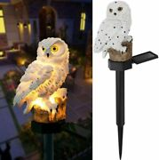 Outdoor Owl Solar Led Lights + Stake For Garden Lawn Pathway Yard Decor Lamps
