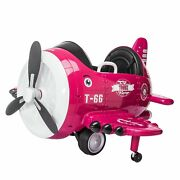 12v Electric Ride On Plane Toy Kids Aircraft Style Vehicle W/remote Control Pink