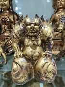 Chinese Gilt Bronze Tomb Guardian Statues Bronze Tiger Beast Figurines