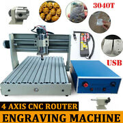 Usb 4 Axis Cnc Router 3040 3d Engraver Wood Pcb Milling Drilling Machine+rc Kit