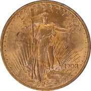 1908 No Motto Saint St. Gaudens 20 Gold Double Eagle Old Rattler Pcgs Ms 61