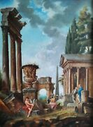 Figures And Classical Roman Ruins Italian School 19thc Large Antique Oil Painting