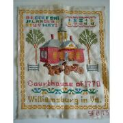 Paragon Colonial Williamsburg Courthouse Completed Cross Stitch 11x14 Sampler