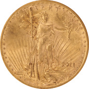 1911-s Saint St. Gaudens 20 Gold Double Eagle Old Holder Anacs Ms 61