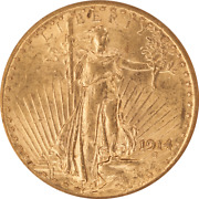 1914 Saint St. Gaudens 20 Gold Double Eagle Old Holder Anacs Ms 62
