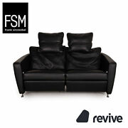 Fsm Sesame Fsm250/23 Leather Sofa Black Two Seater Function Incl. Pillow
