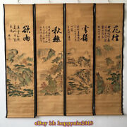 China Calligraphy Paintings Scrolls Old Chinese Painting Scroll Four Screen D93x