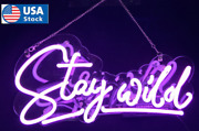 17 Stay Wild Neon Sign Grass Wall For Birthday Party Bedroom Decor Real Glass