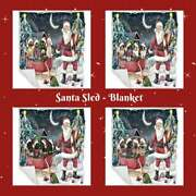 Christmas Santa Sled Dogs Cats Pets Photo Lovers Woven Blanket Bedroom Décor