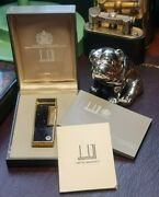 Scarce Newly Serviced + Warranty Dunhill Blue Lacquer Gold Dust Rollagas Lighter