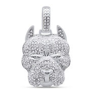 1.50 Cttw Natural Diamond Micro Pave Solid 10k Gold Mens Dog Charm Pendant