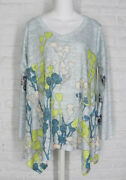 Inoah Tunic Shirt Abstract Floral Burst Pale Green White Art To Wear Nwt Small
