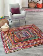 Hand Braided Bohemian Colorful Cotton Chindi Area Rug Multi Color Cotton Rugs