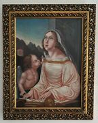 Italian Renaissance 1600and039s Saint Cecilia And Angel Old Master Antique Oil Painting