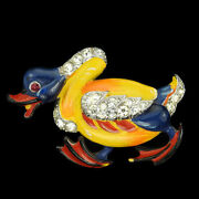 Trifari And039alfred Philippeand039 Pave And Enamel Angry Duck Bird Pin