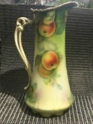 Antique Bavaria Hand Painted Gilded Pitcher Vase Gorgeous14 Peaches