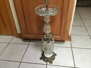 Vintage Hollywood Regency Crystal Glass Brass Floor Ashtray Smoke Stand 27andrdquo Tall