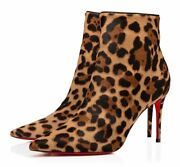 Christian Louboutin So Kate Booty 85 Black Brown Leopard Ankle Heel Bootie 36.5