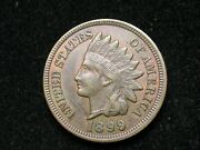 Summer Sale Au 1899 Indian Head Cent Penny W/ Full Liberty And Diamonds 124w