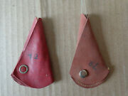 2 Vintage Leather Fishing Hook Holders Hook Protector Containers 1935 And 1946