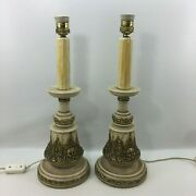Antique Victorian Table Lamp Pair Gilt Carving Wood Angel Cherub Numbered Pieces