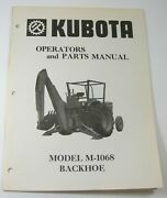 Kubota Model M1068 Backhoe Bucket For Tractors Operator And Parts Manual M-1068