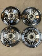 Set Of 4 Vintage 1950andrsquos 14inch Ford Hubcaps Fairlane Thunderbird