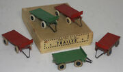 Very Rare Meccano Dinky Toys Pre War 25g Trade Box With 5 X 4 Wheel Trailers