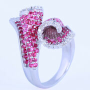 Uique Ladies Jewerly Diamonds And Rubies Engagement Semi Mount 10k White Gold