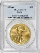2006-w 50 Gold Burnished Eagle Pcgs Ms70 Sp70