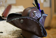 Brown Leather Pirates Of The Caribbean Jack Sparrow Pirate Tricorn Mens Hat