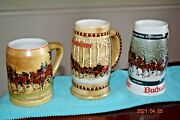 1980 81 And 82 Steins - 1st 2nd And 3rd Budweiser Holiday Series Clydesdales