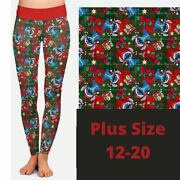 Stitch Christmas Presents Candy Cane Holiday Women's Leggings Tc Plus Size 12-20