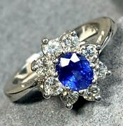 4100 Blue Sapphire Diamond Halo 14k White Gold Vintage Ring Certified Size 7