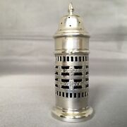 1900 Solid Silver Chester Blue Glass Liner Pepper Shaker By William Aitkin