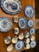 Collectiblevintage Liberty Blue Staffordshire China Colonial Scenes 85 Pcs.
