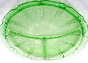 Green Cherry Cherries Depression Glass Grill Plate 9 Round Dg Jeanette Divided
